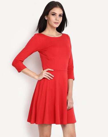 scarlet-red-dress-round-neck-full-sleeves-skater-dress-party-wear-midi-dress