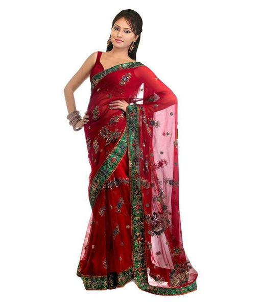 Net Saree Red Color Designer Net Sarees With Embroidery Work