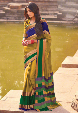 Handloom Cotton Silk Saree in Olive Green Multicolored Broad Border Silk Saree