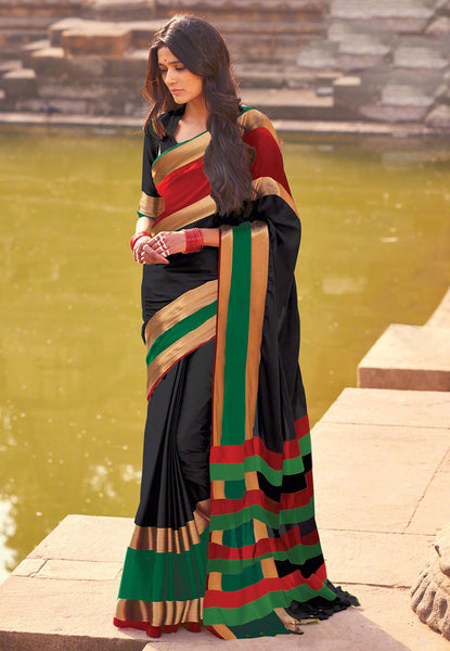 Handloom Cotton Silk Saree in Black Color Multicolored Broad Border Silk Saree