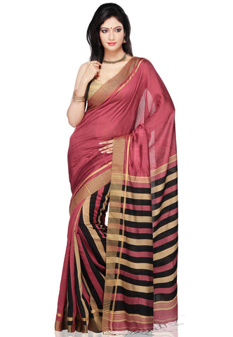 Handloom Cotton Silk Saree in Old Rose & Black Color With Multicolored Broad Border Silk Saree