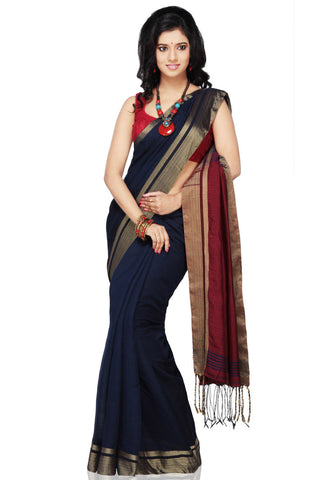 Handloom-Cotton-Silk-Saree-Blue-Color-Pure-Art-Silk-Saree