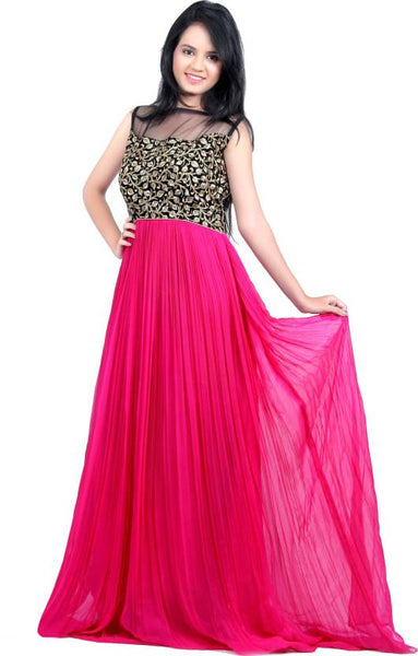 Latest Gown Pink & Black Color Long Evening Gowns