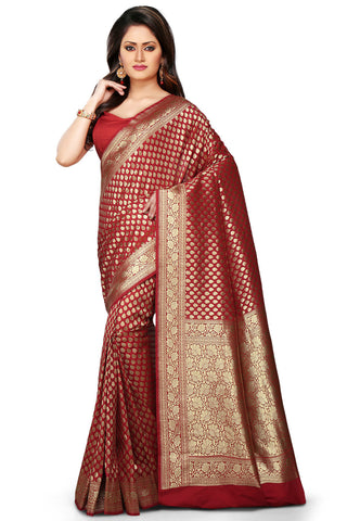 Banarasi-Handloom-Red-Color-Silk-Saree
