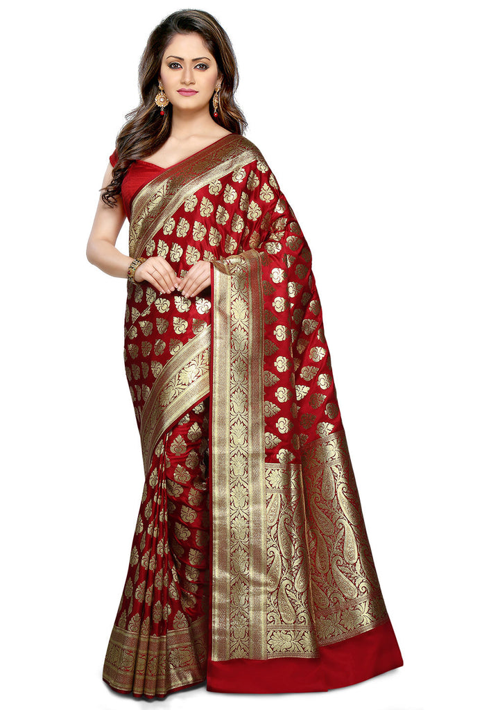 cfa9e843c Banarasi Silk Saree Maroon Color Golden Paisly Design Silk Sarees – Lady  India