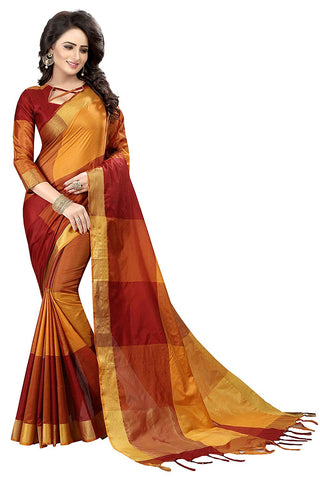 Multicolored Cotton Silk Saree - Silk Cotton Saree Online Shopping