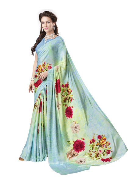 Trendy Casual Wear Crepe Silk Sarees Floral Print Printed Sarees For Women