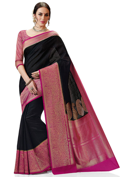 Woven-Kanchipuram-Silk-Saree-Black-Designer-Pure-ArtSilk-Saree