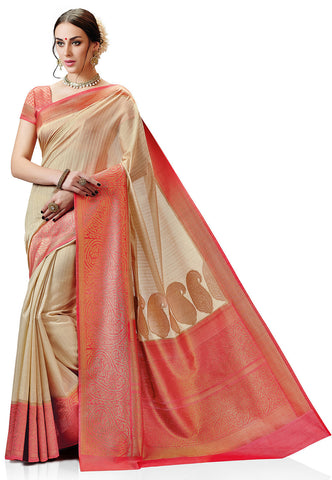 Woven-Kanchipuram-Silk-Saree-in-Beige-&-Peach-Color