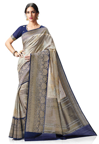 Pure-Kanchipuram-Silk-Saree-in-Grey-&-Blue-Color-With-Kalamkari-Border