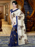 Designer Beige And Blue Casual Wear Sari Printed Pure Cotton Silk Sarees With Floral Design For Women
