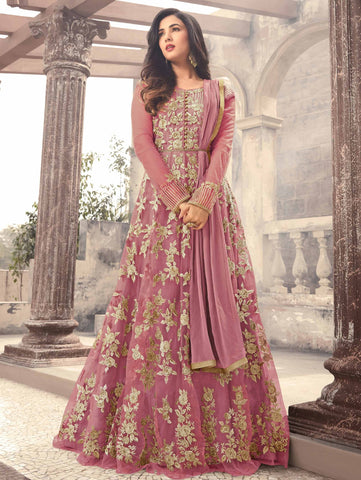 Sonal Chauhan Purple Pink Net Anarkali Suit Thread Work Anarkali Dress with Dupatta