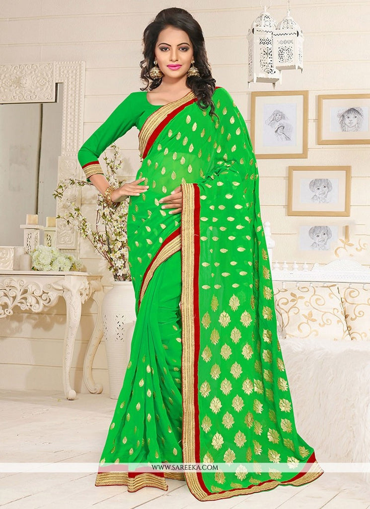 a15136922d Partywear Green Colored Georgette Embroidered Saree For Women – Lady India