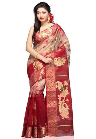 Pure-Cotton-Silk-Saree-Beige-and-Red-Colored-Kota-Silk-Saree