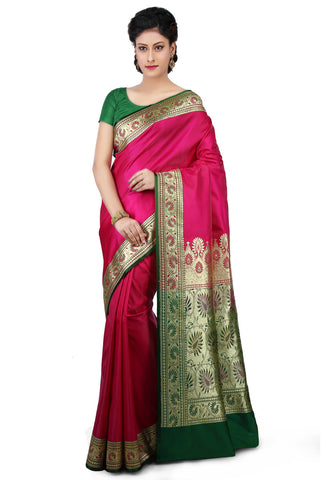 Pure-Banarasi-Silk-Fuchsia-Color-Silk-Saree-With-Kalamkari-Border
