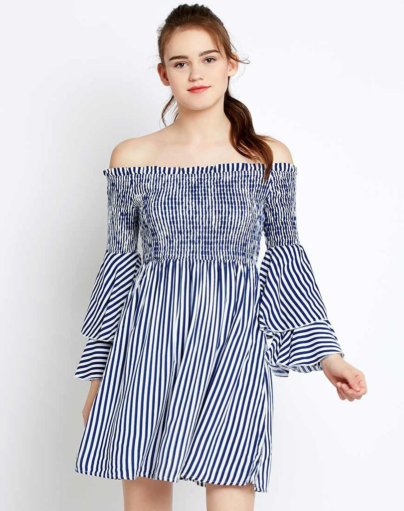 151dbe6a907 Buy Online Designer Dresses Stripes Printed Off Shoulder Bell Sleeves Dress  Midi Dresses At Lowest Prices In India – Lady India