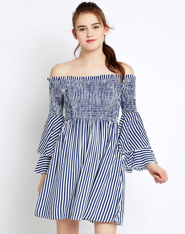 designer-dresses-stripes-printed-off-shoulder-bell-sleeves-dress-midi-dresses-online-