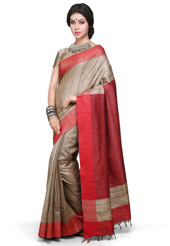 Handloom Pure Ghicha Silk Saree in Beige Color With Contrast Border