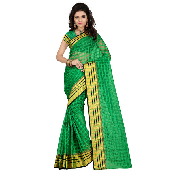 Designer Kota Silk Check Print Green Color Saree For Women