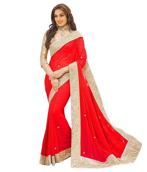 Shop Online Designer Red Border Saree For Women