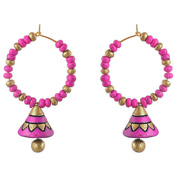 Terracotta Earrings Hot Pink Bali Jhumkas Terracotta Jewellery Online Shopping