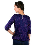 Navy Blue Color Polka Dots Peasant Polyester Round Neck Casual Top