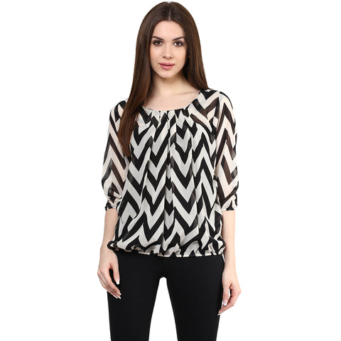 Black Color Pure Crepe Straight Elegant Casual Zig Zag Pattern Top
