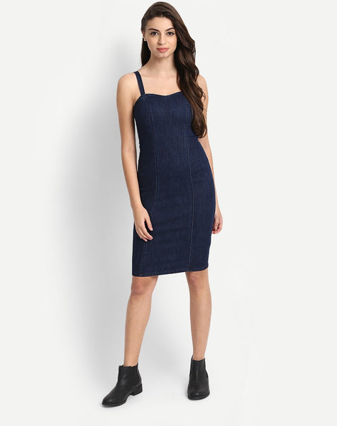 Designer Sleeveless Denim Bodycon Dress For Women