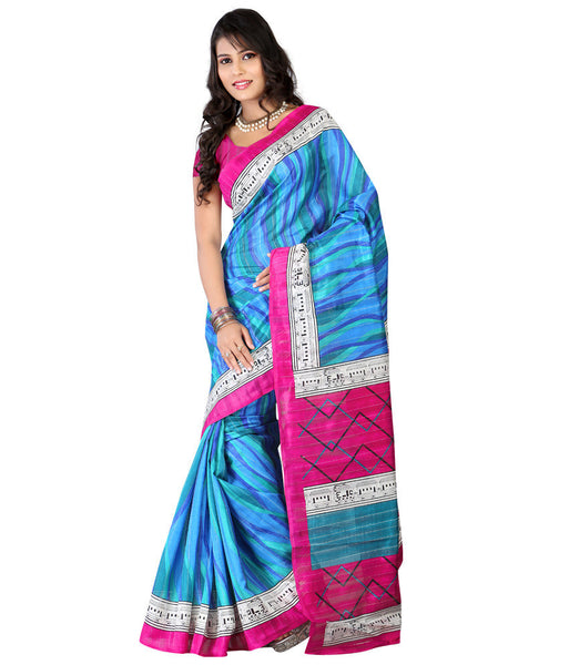 Shop Online Designer Blue Printed Pure Silk Saree for women