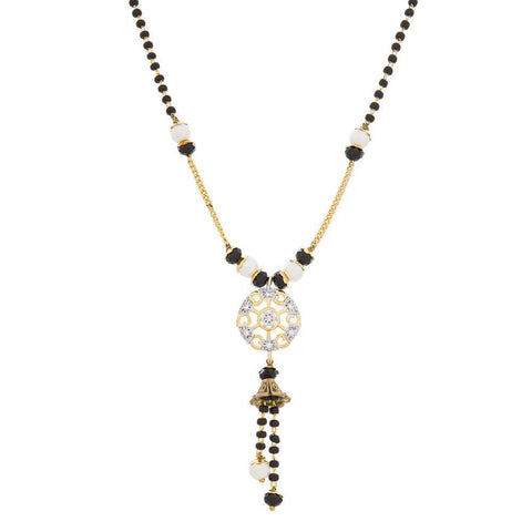 Latest Designer Jewellery Collection Luxor Gold & Black Pearl Studded Mangalsutra Necklace For Women