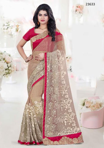 Latest Designer Partywear Beige Colored 23633 Wedding Sari Georgette Tissue Sarees With Embroidery And Patch Border Work