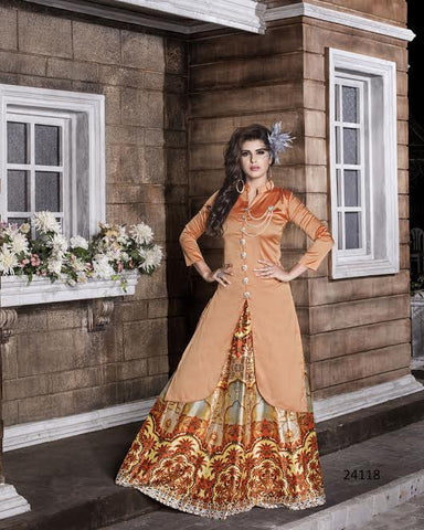 Latest Designer Light Peach Color Long Kurtas With Skirts Digital Print Stitched Kurtis