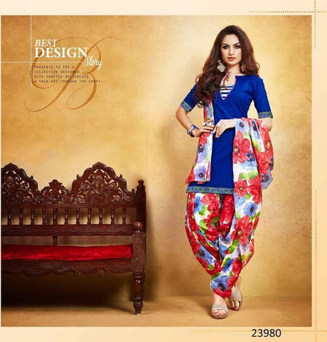 Holi Festive Collection Blue New Patiyala Dress Lawn Printed With Lace Border Un-Stitched Punjabi Suit