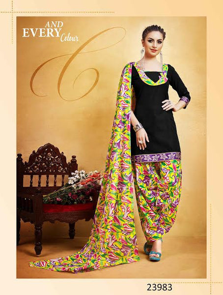 New Punjabi Suits Black Printed With Lace Border Un-Stitched Patiala Salwar Kameez