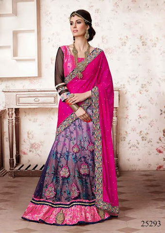Purple Colored Net Heavy Embroidered Semi Stitched Lehenga Choli