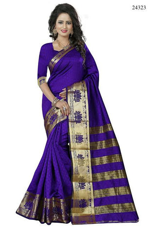 New Banarasi Silk Sarees Purple Colored Jacquard Lotus Print Saree