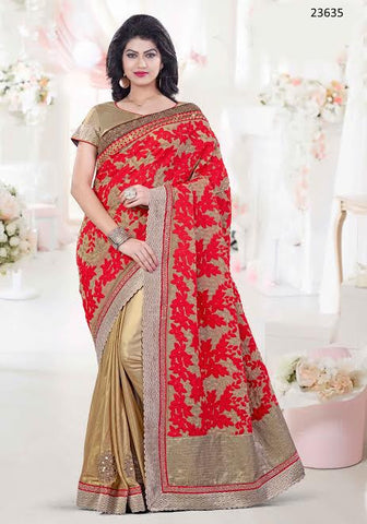 Latest Designer Partywear Bridal Red And Beige Colored 23635 Wedding Sari Georgette Art Silk Half And Half Sarees For Women