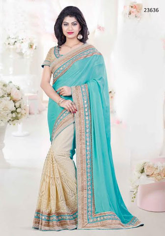 Latest Designer Wedding Firozi And Beige Colored 23636 Partywear Sari Georgette Net Half And Half Sarees With Mirror And Pearl Work