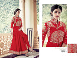 Partywear Red Colored 23681 Designer Georgette Anarkali Style Front Open Embroidered Salwar Suit