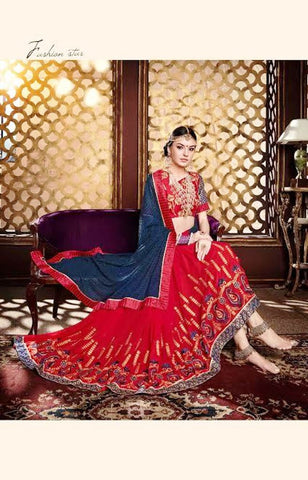 Designer Sarees Georgette Red & Navy Blue Colored With Heavy Embroidery Work