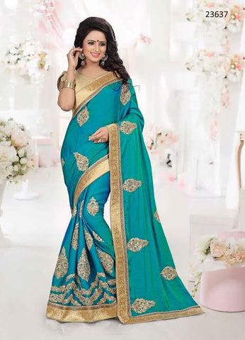 Latest Designer Traditional Partywear Blue Colored Sari 23637 Wedding Art Silk Sarees For Women