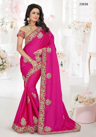 Designer Partywear Wedding Sari Rani Colored 23638 Traditional Art Silk Sarees With Embroidery And Patch Border Work