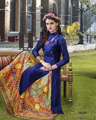 Navy Blue Designer Long Kurtas With Skirts Banarasi Silk Digital Printed Stitched Kurti And Skirt