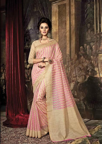 Fancy Art Silk Sarees Pink & Beige Silk Sarees With Dyed Weaving Work