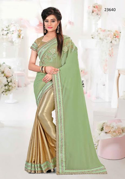 Designer Partywear Gold And Green Colored 23640 Sari Georgette Silk Half And Half With Embroidery And Patch Border Work Saree