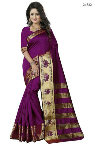 Pure Banarasi Silk Sarees Magenta Colored Jacquard Lotus Golden Print Broad Border Silk Banarasi Saree
