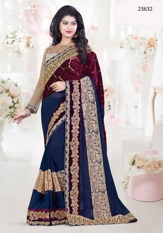 Designer Wedding Navy Blue Colored 23632 Partywear Sari Georgette Net Sarees With Embroidery, Lace, Patch Border Work