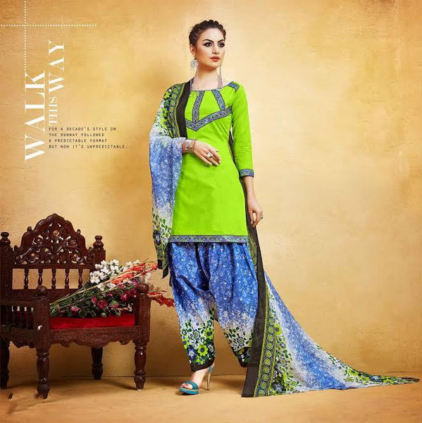 Light Green New Patiyala Dress Lawn Printed With Lace Border Un-Stitched Punjabi Suit
