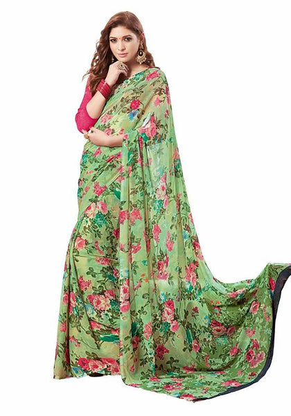 Floral Print Chiffon Sarees Green Chiffon Printed Saree With Blouse