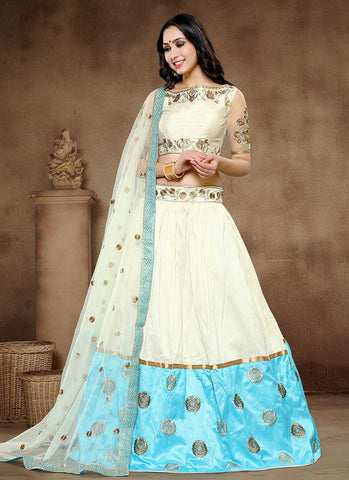 Bridal Lengha Choli White & Sky Blue Colored Pure Khadi Silk & Banglori Silk Embroidered Semi-Stitched Bridal Choli